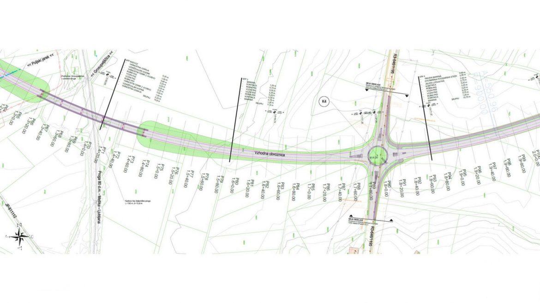 Slika 3 - Gradbena situacija obvoznice na območju nadvoza