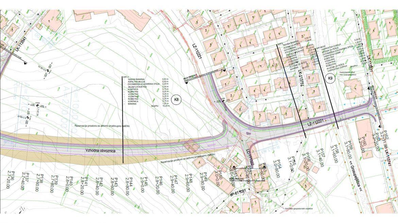 Slika 4 - Gradbena situacija obvoznice na območju navezave na obstoječe